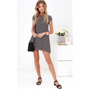Billabong black white striped last minute dress